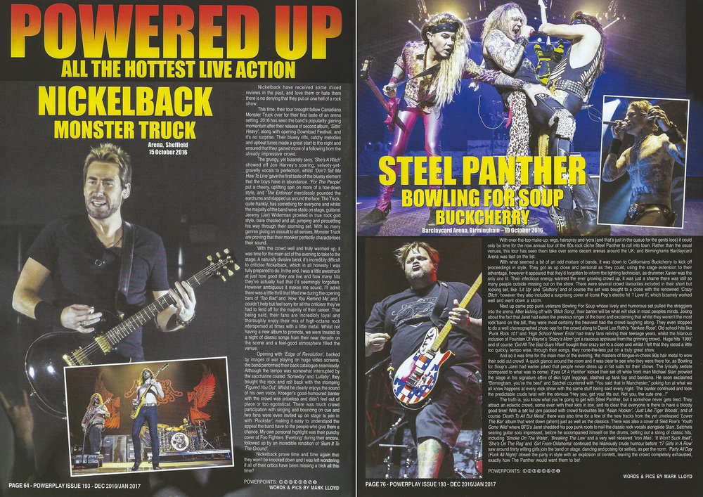 PowerPlay Magazine  - Nickelback and Steel Panther live Reviews