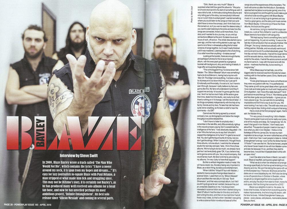PowerPlay Magazine - Blaze Bayley feature and photo