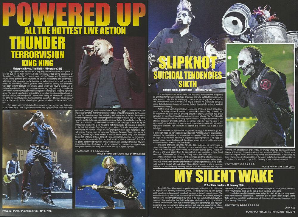 PowerPlay Magazine - Thunder and Slipknot Reviews and Photos