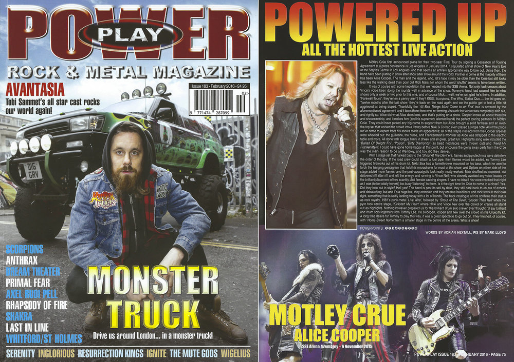 PowerPlay Magazine - Monster Truck Cover shot and Motley Crue Review