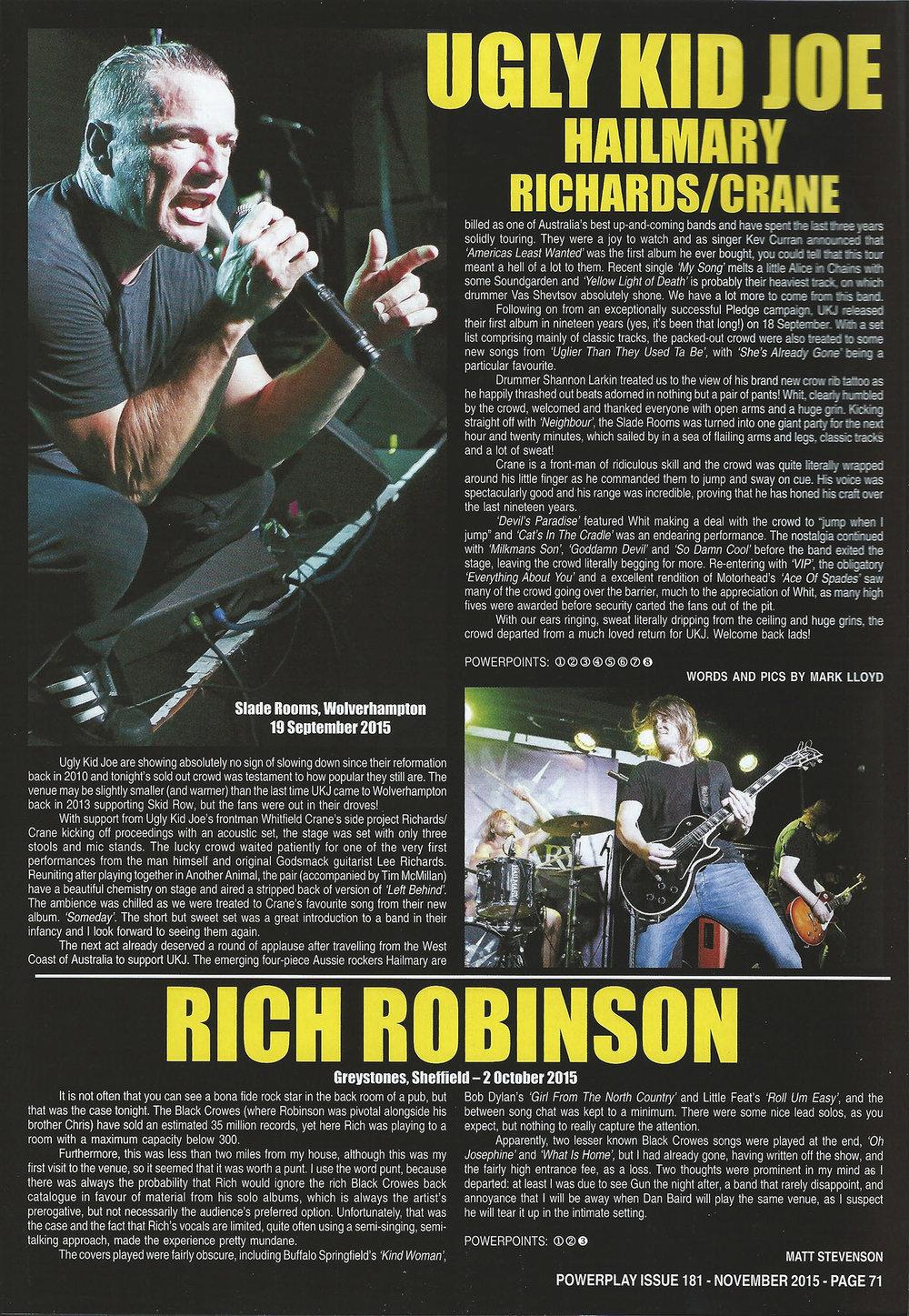 PowerPlay Magazine - Ugly Kid Joe Review and Photo