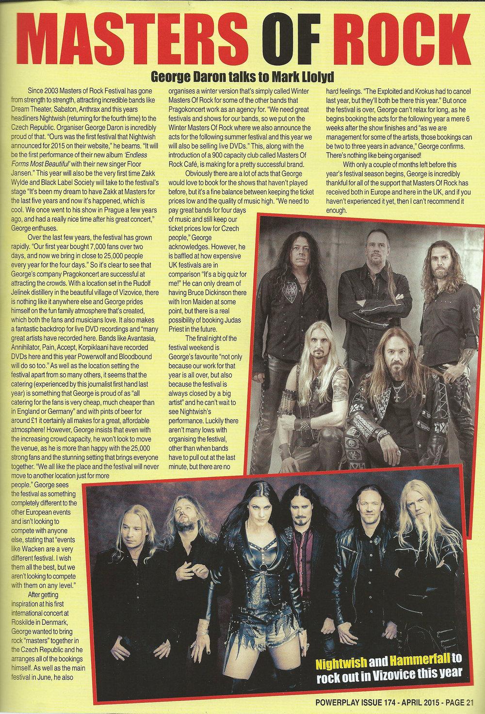 PowerPlay Magazine - Masters of Rock Interview