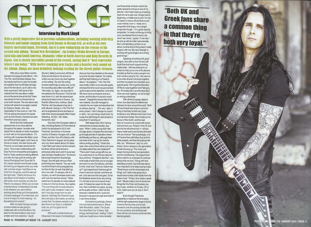 PowerPlay Magazine - Interview with Gus G