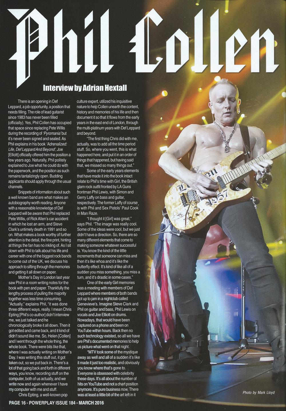 PowerPlay Magazine - Photo of Phil Collen