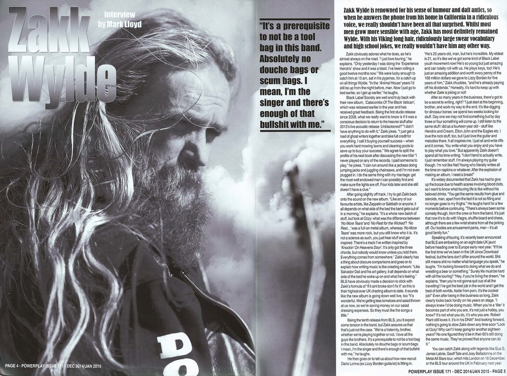 PowerPlay Magazine - Interview and Photo with Zakk Wylde