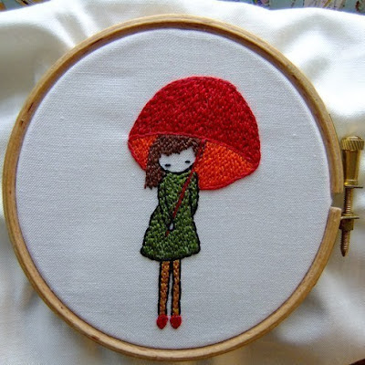 mary jane and her umbrella embroidery pattern