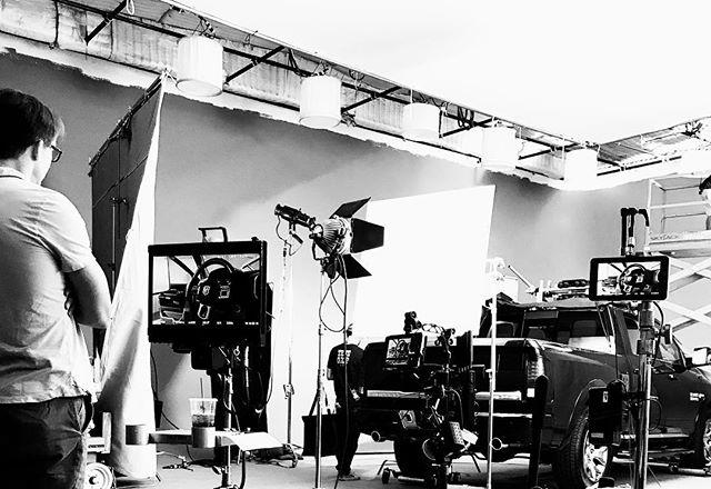 #tbt Mac Carter contemplates the set up for @hugeinc and Ram trucks #film #advertising #trucks #commercial #stage