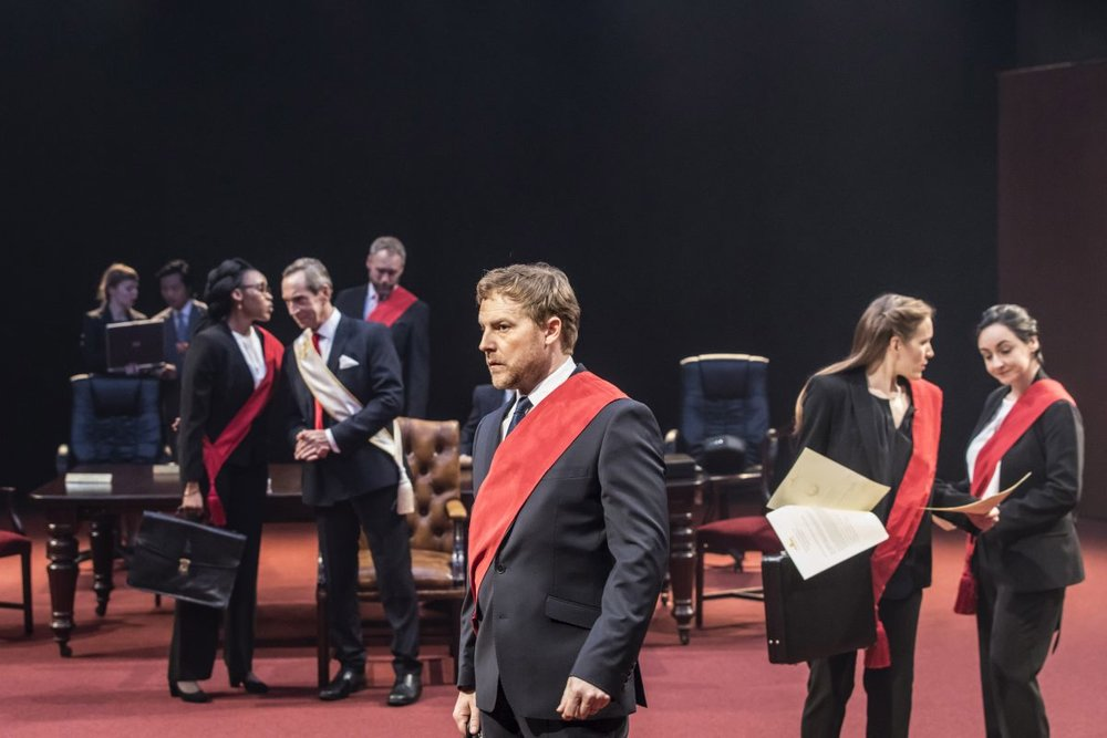Sam West (foreground) as Brutus. Photo from https://www.sheffieldtheatres.co.uk/whats-on/julius-caesar