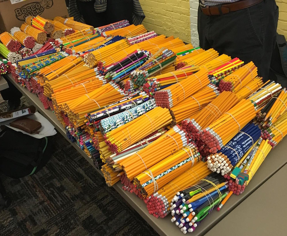 A portion of pencils separated into bundles of 200 by participants at Public Allies Pittsburgh.