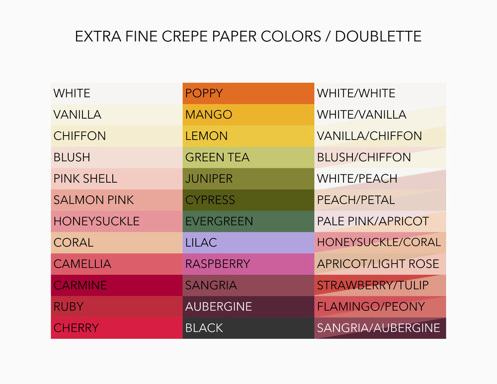 "*The availability of the colors above may change unexpectedly depending on crepe paper suppliers. If a color is out of stock, a similar color will replace it. Should you need an exact color (for wedding color-matching, etc.) please specify on your custom order form and we will inform you of current availability. Colors may also vary slightly based on each individual crepe paper batch. If you prefer to choose your crepe color in person, please select ""arrange a consultation"" when requesting a quote."