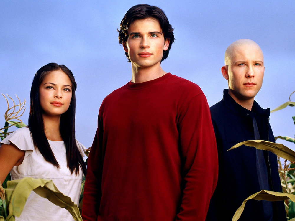 Kristen Kreuk as Lana Lang, Tom Welling as Clark Kent, and Michael Rosenbaum as Lex Luthor from  Smallville