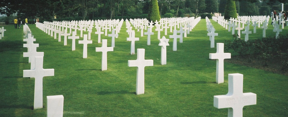 A scene from Saving Private Ryan at Normandy American Cemetery and Memorial