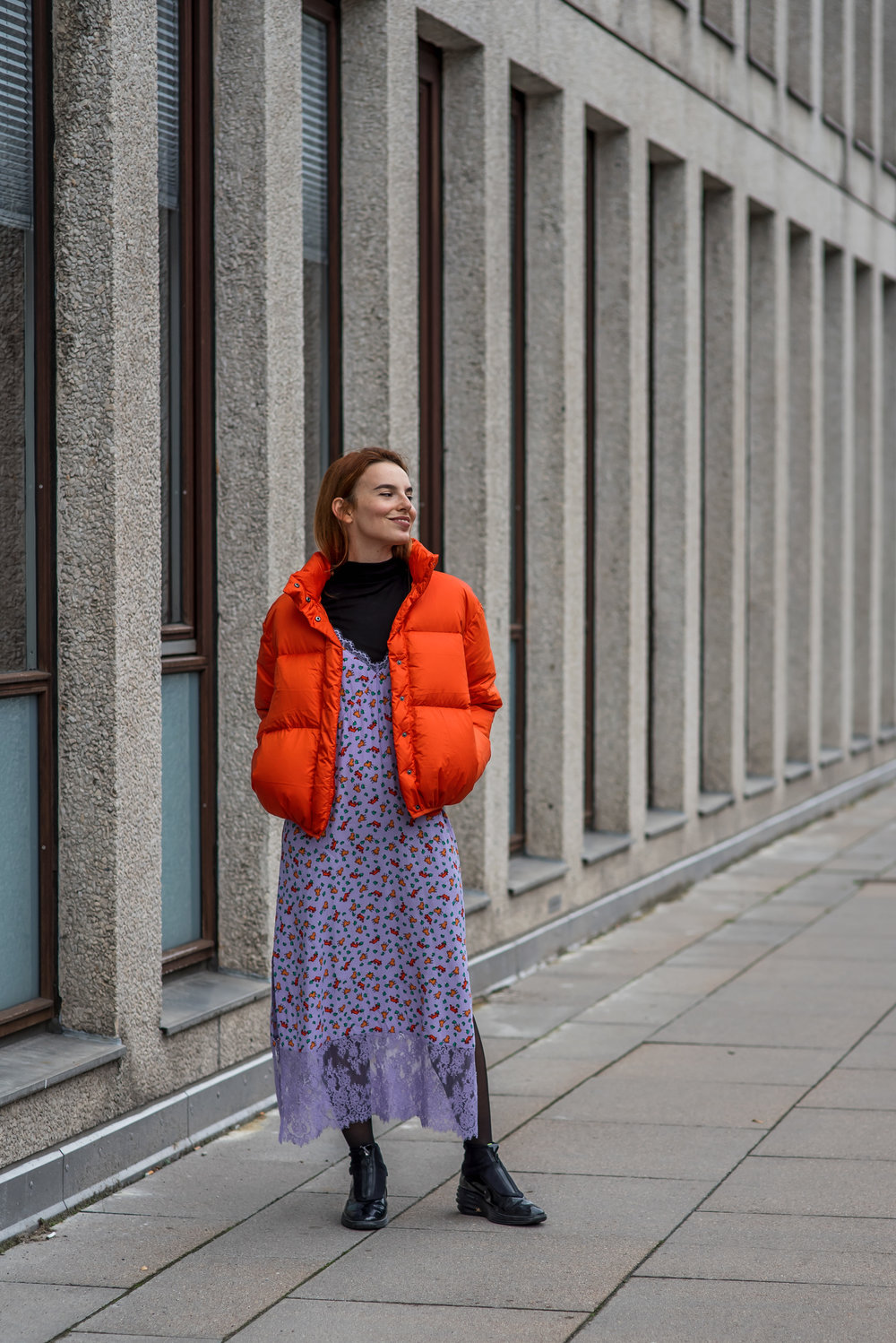 & Other Stories puffer and dress // Nike shoes