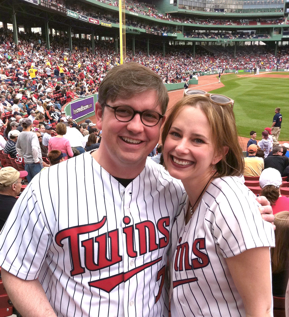 Cheering for the Twins with Megan at Fenway, surrounded by Red Sox fans, standing in defiance to the Green Monster!  This is an awesome park.  (Spring 2011)