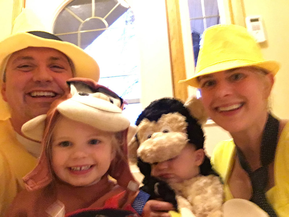 We're attempting to be the 'Parents in the yellow hats' (a la Curious George) for Halloween. The kids are our monkeys. (Fall 2015)