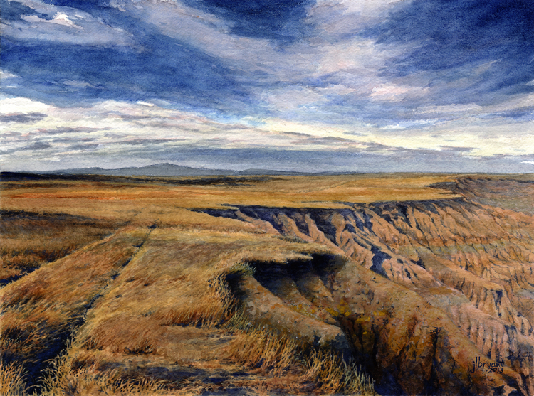 "Badlands Rim at Red Shirt Table  watercolor : 9 x 12"" : print $75 : original available"