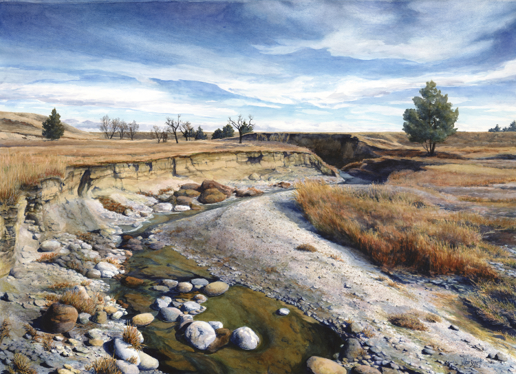 "Sage Creek in Spring  watercolor : 20.75 x 28.75"" : print $350 : original available"