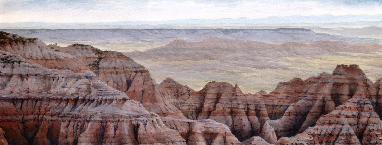 "Stronghold Table from Sheep Mountain  watercolor : 11.125 x 28"" : print $200 : original sold"