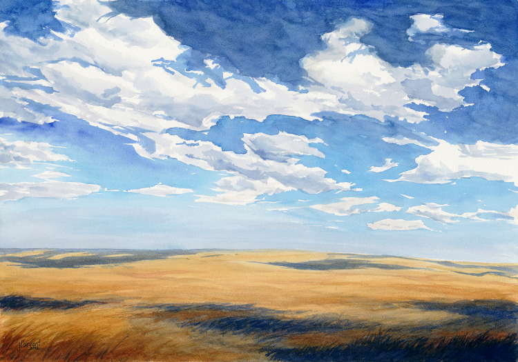 "Badlands Prairie  watercolor : 14 x 20"" : print $175 : original available"