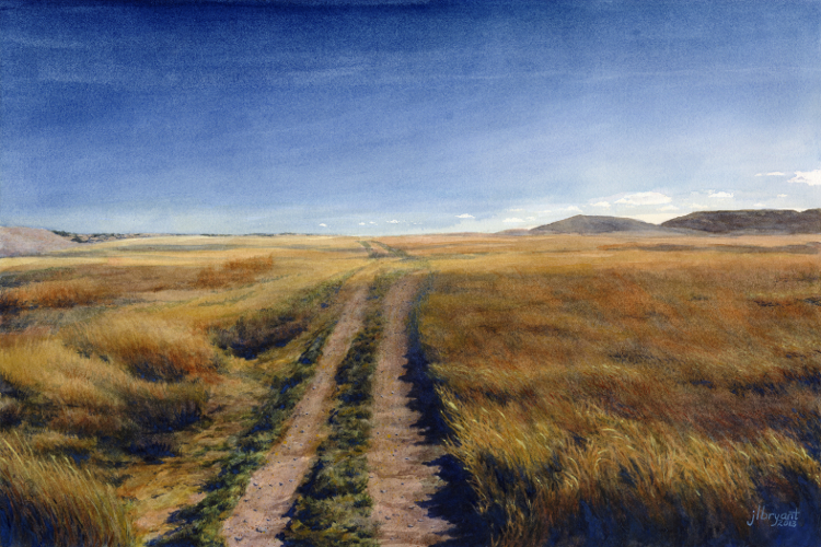 "Heading West in Stronghold District  watercolor : 13.75 x 20.75"" : print $175 : original available"