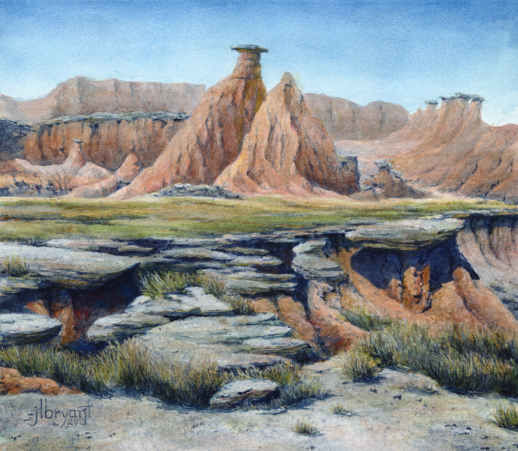 "Erosion in the Palmer Creek Unit  watercolor : 6.75 x 7.75"" : print $35 : original sold"