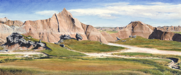 "Palmer Creek Unit: National Geographic 1940 Paleontology Dig Site  watercolor : 24 x 10"" : print $150 : original NFS"