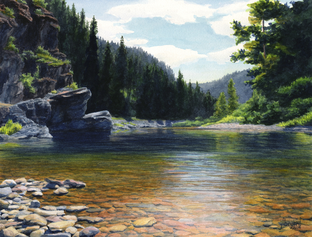 "Coeur d'Alene River  watercolor : 9.5 x 12.5"" : print $80 : original sold"