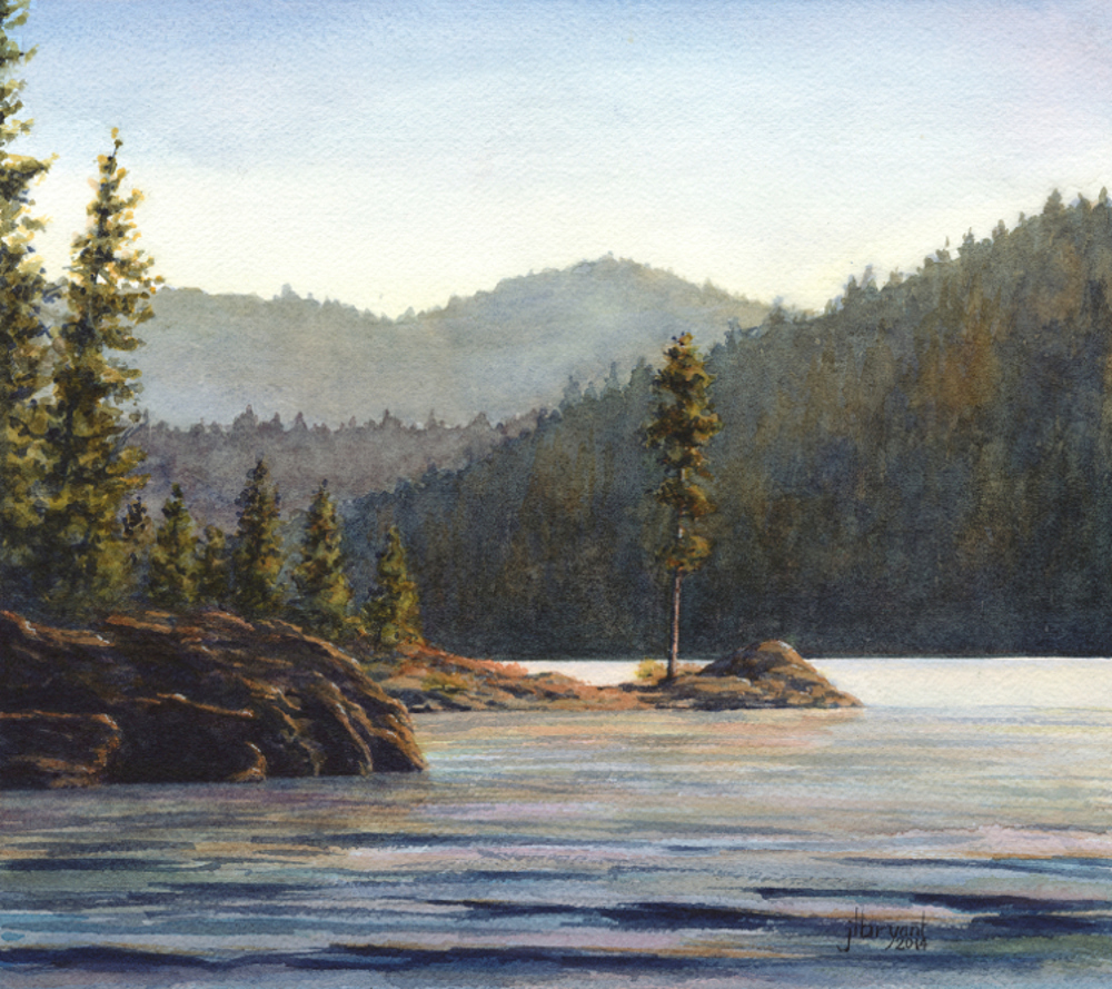 "Corbin Point at Sunset  watercolor : 9 x 10"" : print $60 : original available"