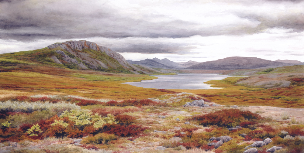 "Long Lake, Noatak National Preserve, Alaska  watercolor  :  14.5 x 29""  :  print $275  :  original available"