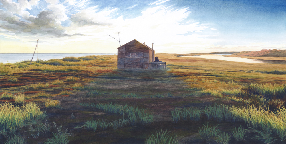 Anigaaq Ranger Station, Cape Krusenstern National Monument, Alaska  watercolor  :  14.5 x 29  :  print $275  :  original available