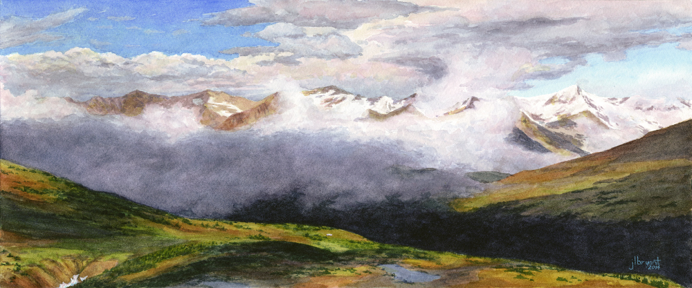 "August in the Never Summer Range, Rocky Mountain National Park  watercolor  :  7.5 x 18""  :  print $140  :  original sold"