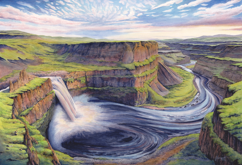 "Palouse Falls  watercolor : 15 x 22"" : print $215 : original available"