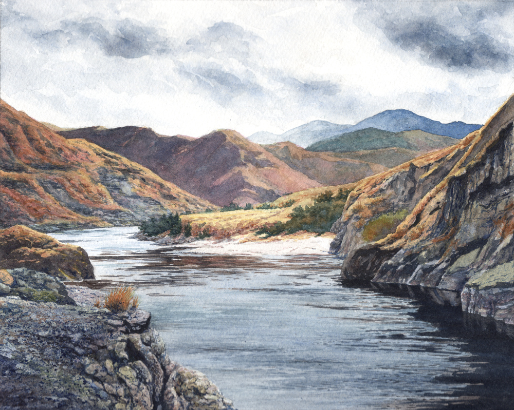"Salmon River at Long Gulch  watercolor : 8 x 10"" : original available through  The Art Spirit Gallery"