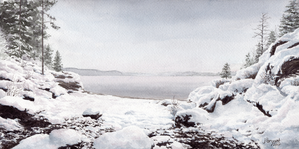 """Tubbs Hill in Snow  watercolor : 6 x 12"""" : original available, contact  The Art Spirit Gallery"""