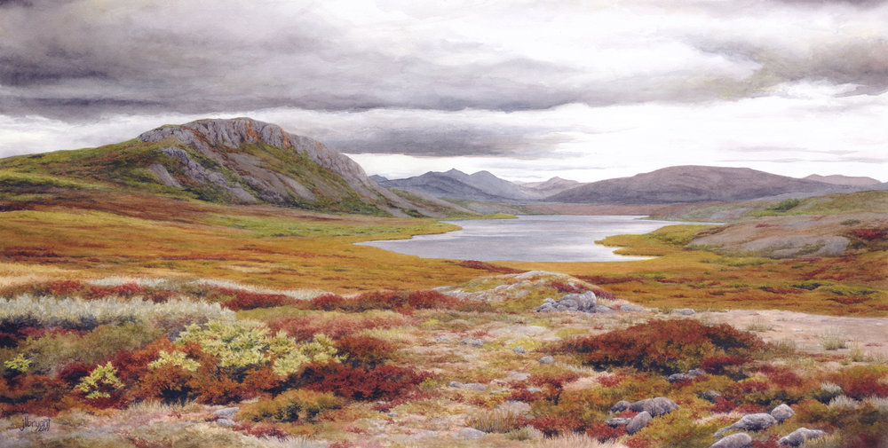 Long Lake, Noatak National Preserve   watercolor on paper, 14.5x29""