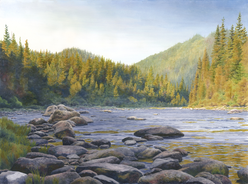 "North Fork Clearwater River  watercolor : 22 x 30"" : print $275 : original available"