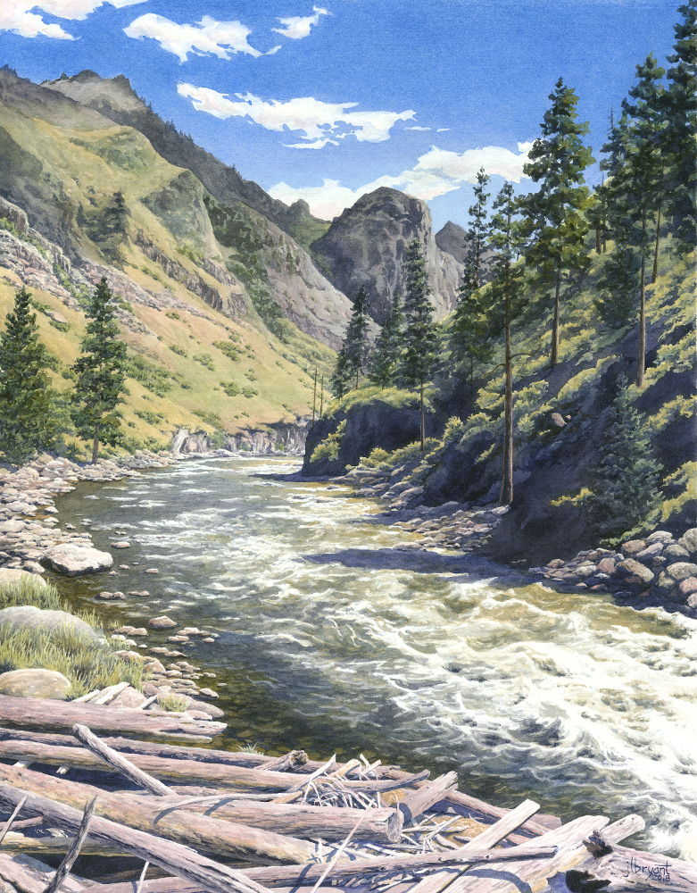 "South Fork Salmon, Above Fall Creek  watercolor :18 x 14"" : print $160 : original available"
