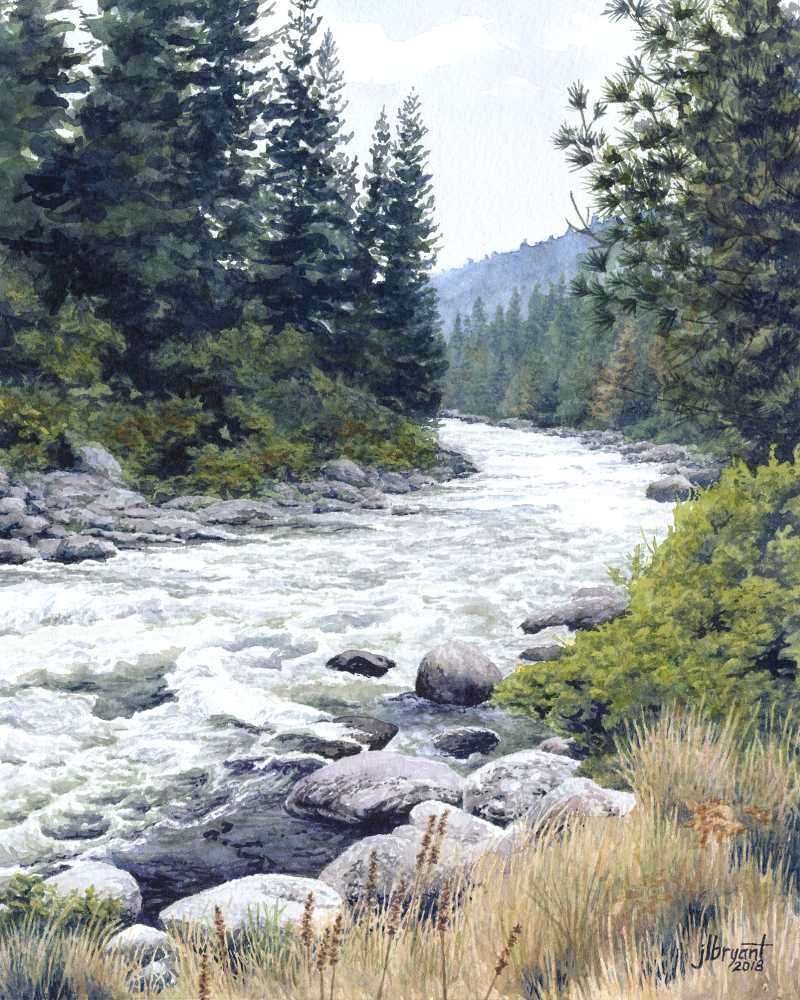"North Fork Payette River  watercolor : 10 x 8"" : print $60 : original available"