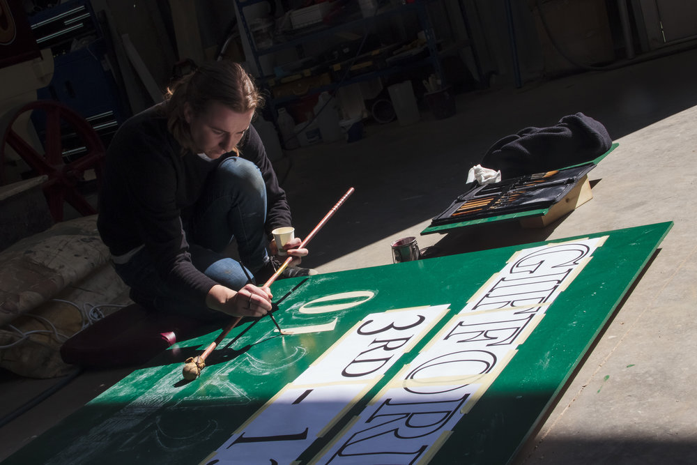 Giffords hand painted sign writing. Photo:  Jack Ball .