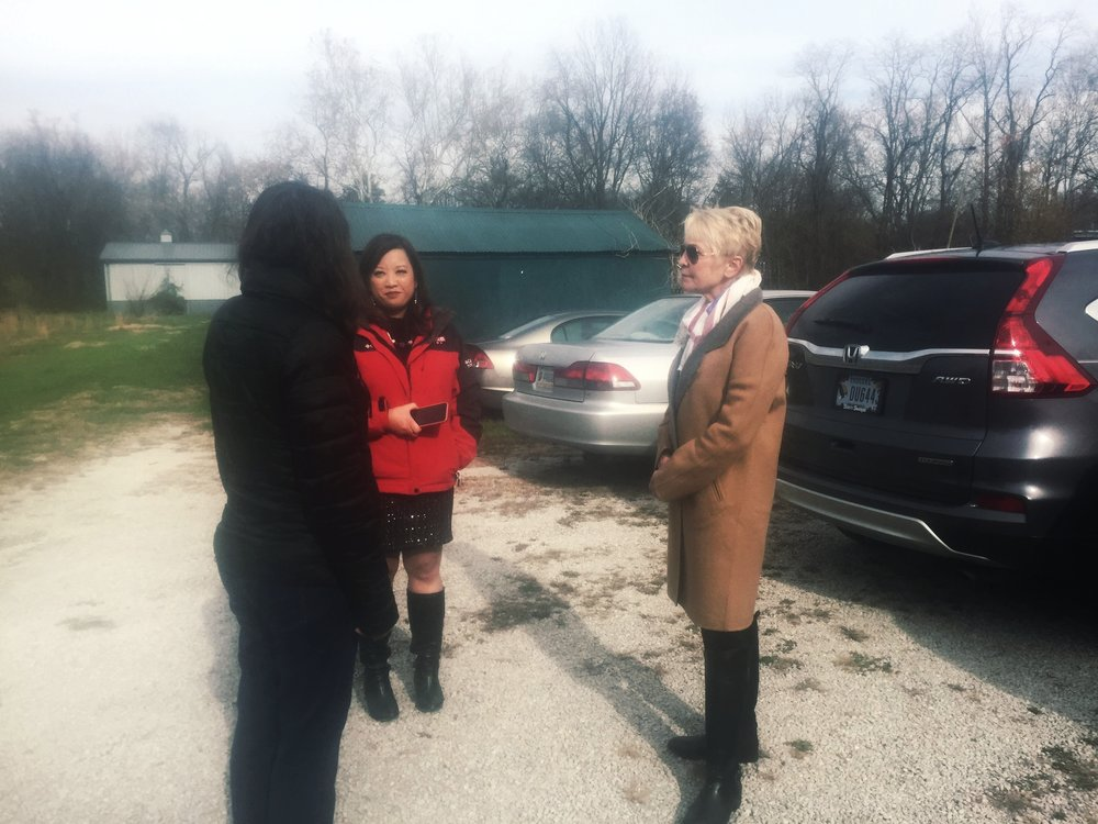 My mom, Mary Gesenhues, listening to a fellow advocate after her WDRB interview.