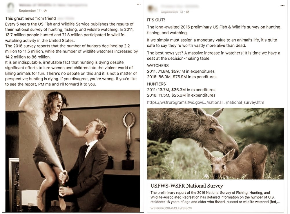 "Case in point: Animal Rights Groups nationwide recently celebrated a 2016 USFWS survey documenting ""non-consumptive"" activities outranking hunting and fishing activities in popularity (as in the above screenshots from social media). Recent scientific studies have found that these ""non-consumptive"" activities actually have a drastic, adverse effect on wildlife - causing non-hunters to surpass hunting activities with regard to negative wildlife impact."