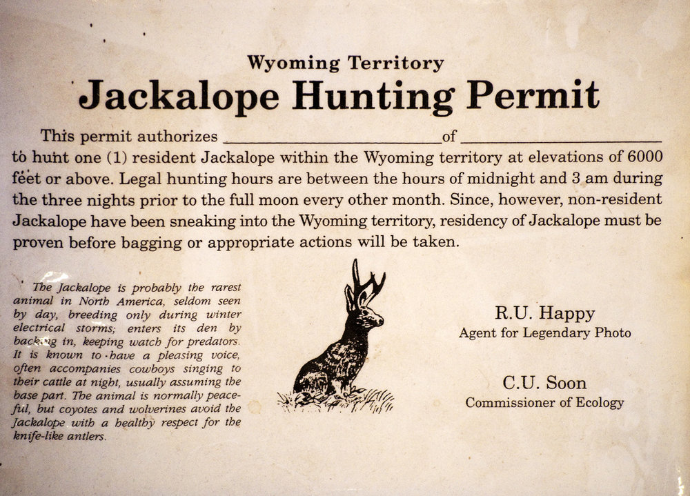 Shown is a historic Jackalope hunting permit from Wyoming, where Jackalope hunting is currently permited today with limited criticism.
