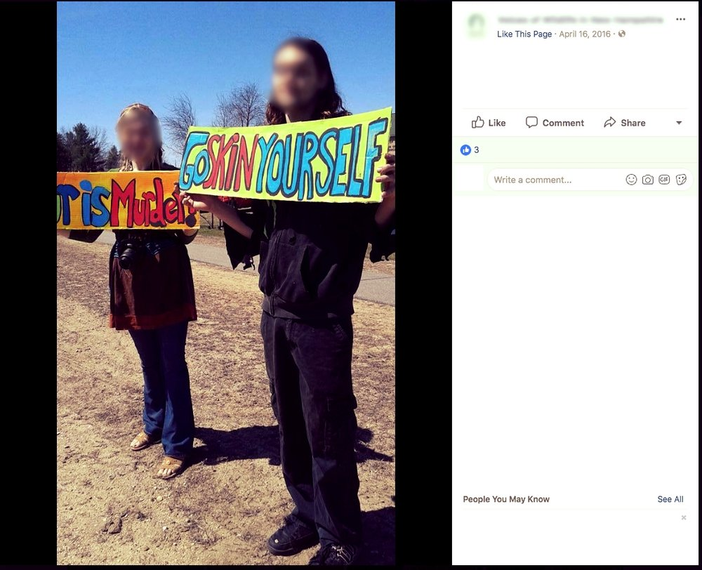 A screen-shot from a local public NH animal rights social media page, taken during the protest of last year's Fish & Game event.