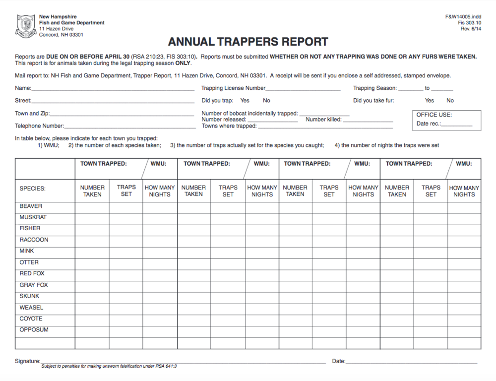 A sample image of NHFG's mandatory reporting form.