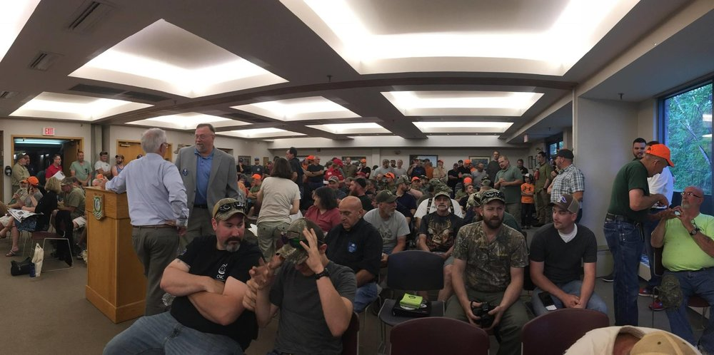 Over 300 Sportsmen attended the second round of public testimony on NH's snowshoe hare and fox hunting seasons. Sportsmen attended at such high volume, the meeting room reached capacity, and the crowd of orange and camo spilled out to the exterior of the building, with many additional hunters peeking in through windows and listening to testimony through open doors. Hunters and trappers made it clear that they supported snowshoe hare hunting, and wanted to see the restrictions on fox hunting removed until more data could be collected.