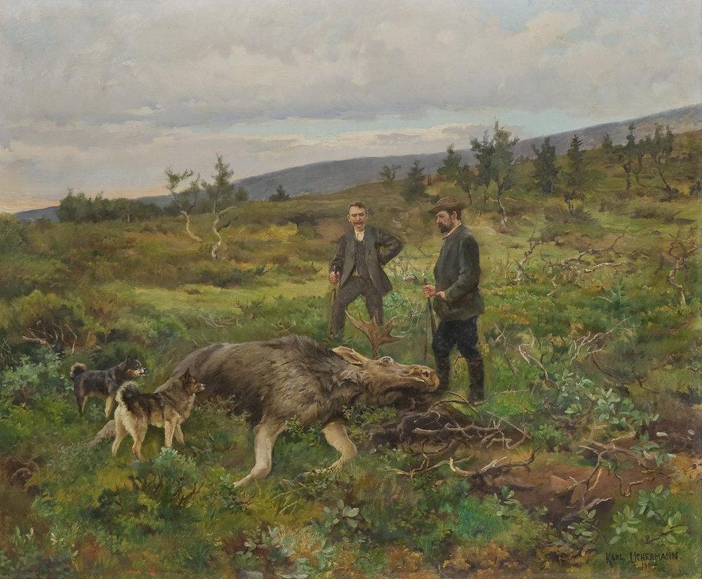 """Moose Hunt"" by Karl Uchermann (1904)"