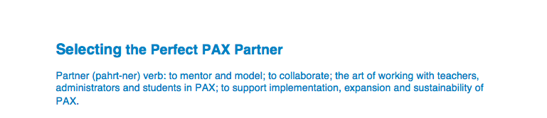 Click for information on selecting local PAX Partners