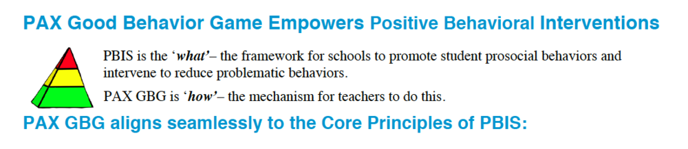 Click here to see how PAX aligns with the Core Principles of PBIS.