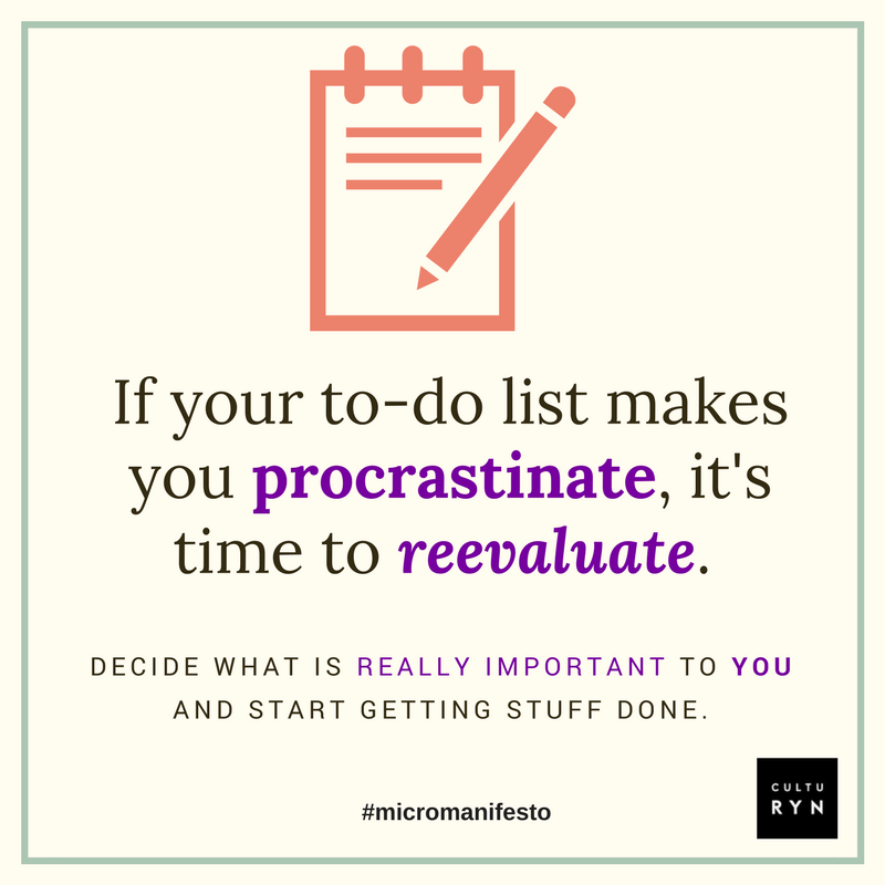 It's easy to clutter your to-do list with things that don't resonate with you: suggestions from others, what society says you should be doing, or even mistaking a casual interest for your life's purpose. The important thing is to take note when new projects never seem to make it off your to-do list. Ask yourself if those things are truly worth doing. When you fill your to-do list with things that truly matter to you, it's much easier to cross things off and get started on making your dream a reality.