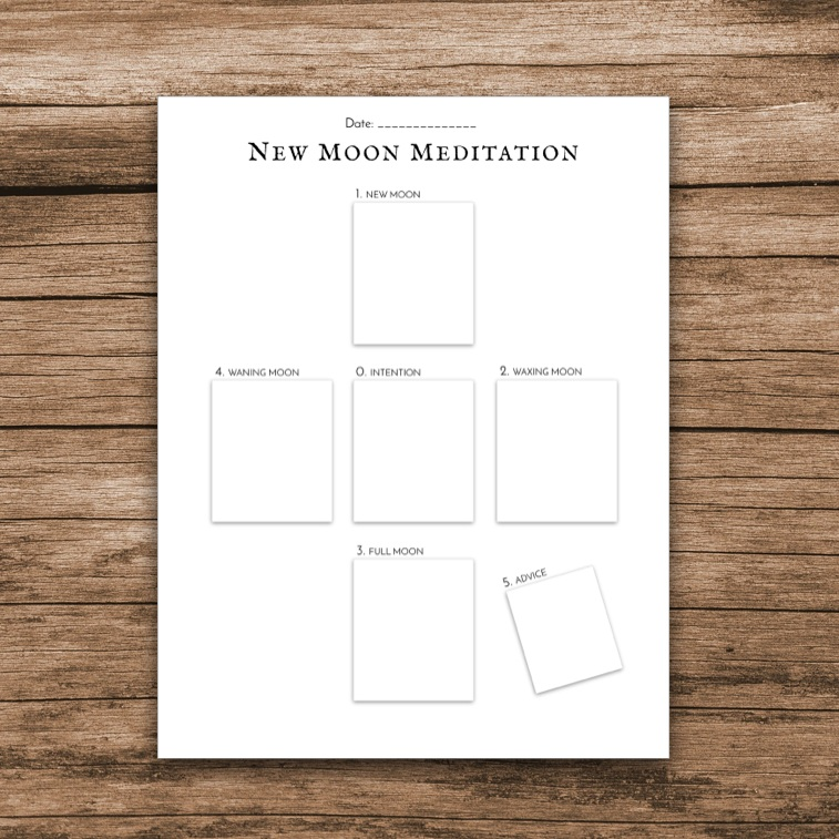 New Moon Tarot - Pull a card for each phase of the moon. The center card is one you choose to represent the goals/wishes you set for this lunar cycle.